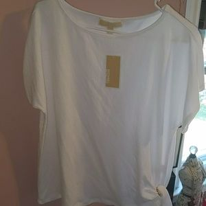 MK white and gold top